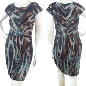 Calvin Klein Brown/Gray Cap Sleeve Sheath Dress 10